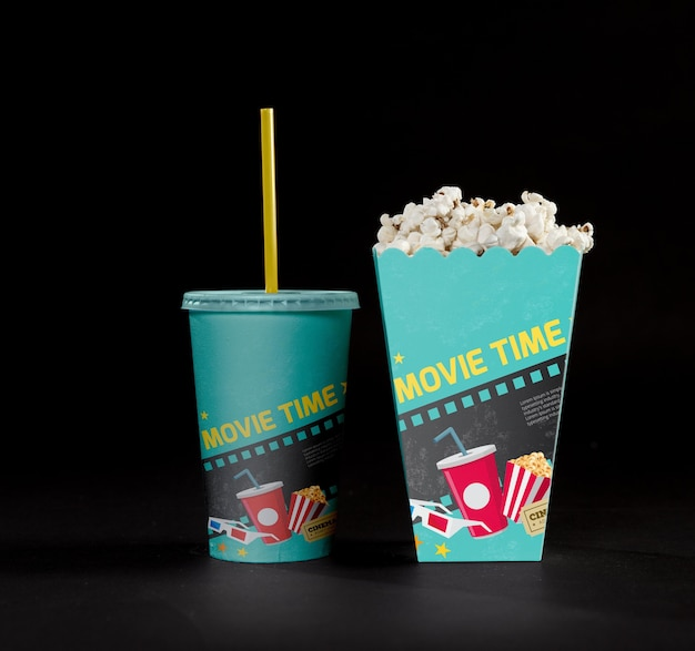 Front view of cinema popcorn with cup