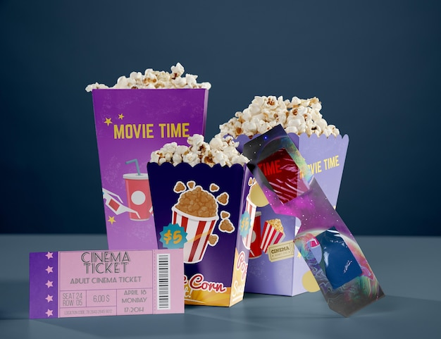 Front view of cinema popcorn with threedimensional glasses