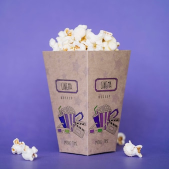 Front view of cinema popcorn Free Psd