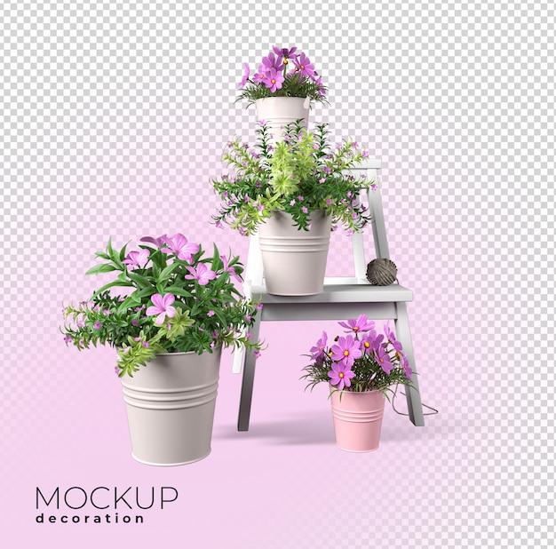 전면보기 냄비 인테리어 3d 모형에 꽃에 가까이