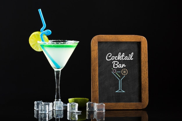 Front view of cocktail mock-up concept