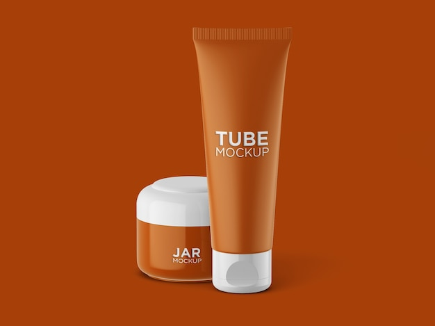 Front view cosmetic tube and jar mockup isolated