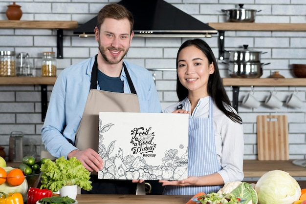 Вид спереди пара поваров макет