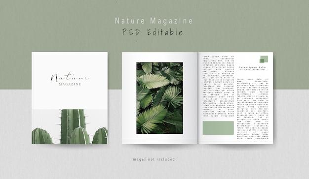 正面図の表紙と内部の編集雑誌のモックアップ