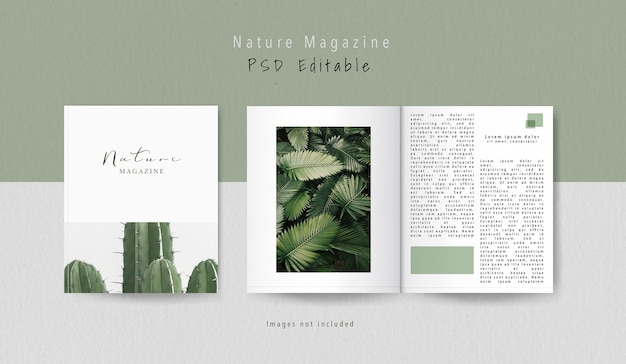 Front view cover and inner part editorial magazine mock-up