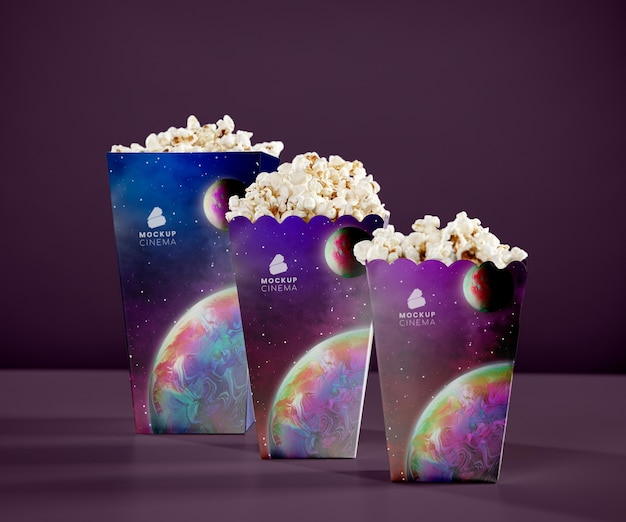 Front view of cups of cinema popcorn