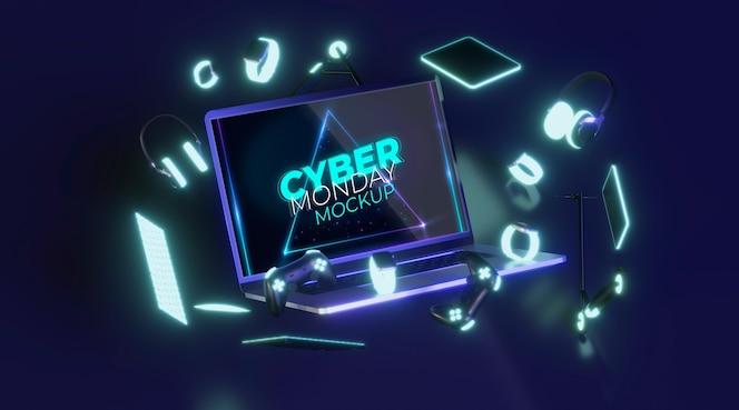 판매 모형을위한 전면보기 사이버 월요일 노트북
