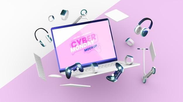 Вид спереди киберпонедельник распродажа макет ассортимента