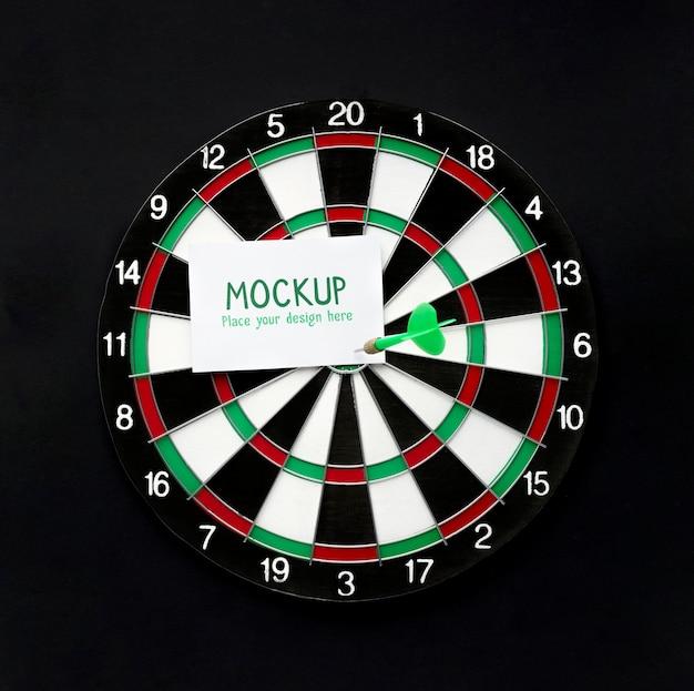 Front view of dart stuck in target