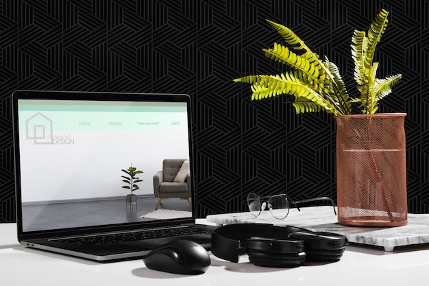 Front view of desk with laptop and plant