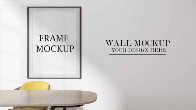 Front view empty wall and frame mockup in 3d rendering