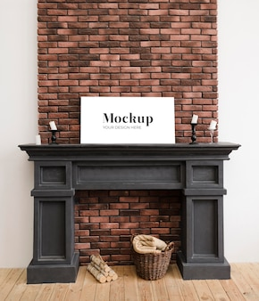 Front view of fireplace mock-up for interior decoration