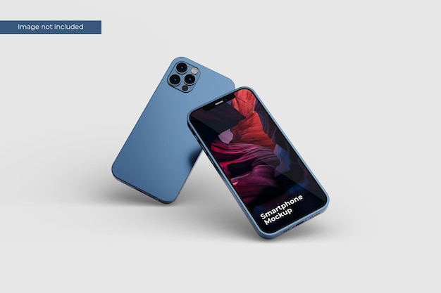 Front view floating smartphone mockup