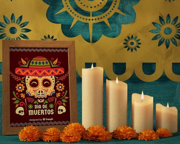 Вид спереди цветочный макет черепа для дня мертвых фестиваля
