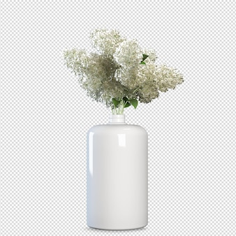 Front view flowers in vase 3d rendering isolated