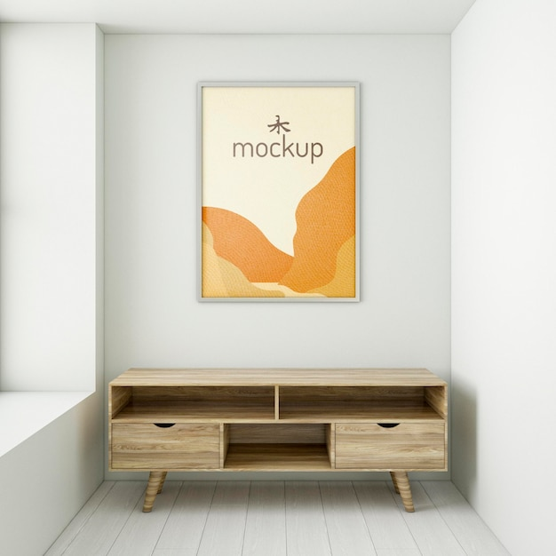 Front view frame mock-up arrangement indoors