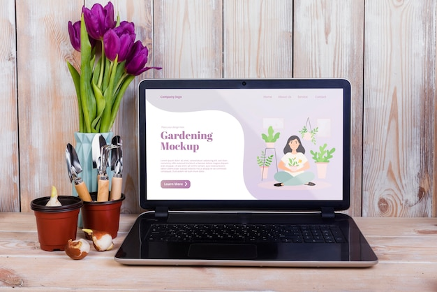 Front view of gardening concept mock-up