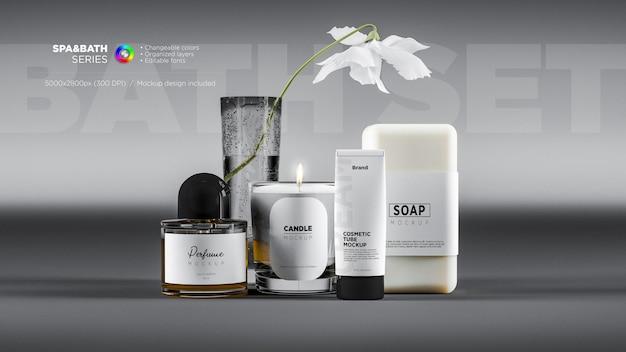 Стеклянный флакон духов, вид спереди, спа, свеча, крем, тюбик, и мыльная этикетка, макет