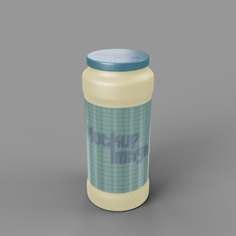 Front view on glossy plastic bottle mockup
