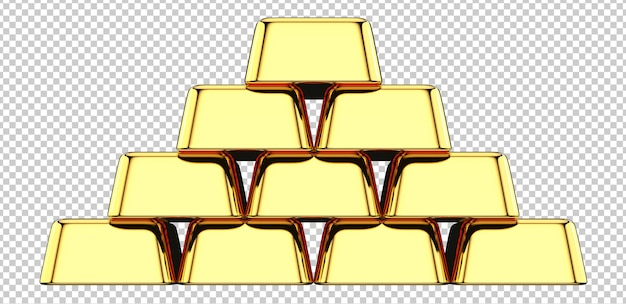 Front view of gold bar stack