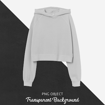 Front view of gray crop hoodie mockup