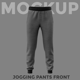 Front view gray sweatpants mockup