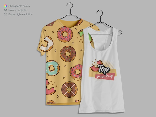 Front view hanging t-shirt and tank top mockup