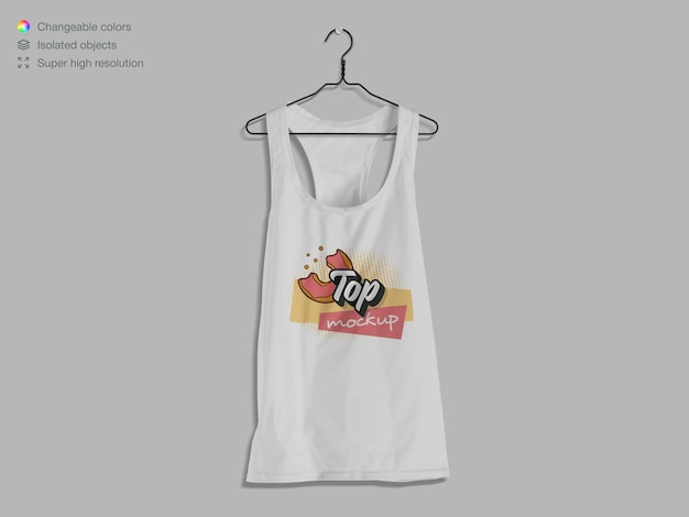 Front view hanging tank top mockup