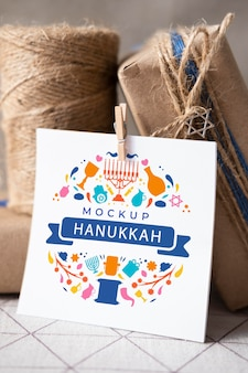 Vista frontale del modello di concetto di hanukkah