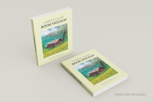 Front view of hardcover book standing mockup