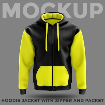 Front view hoodie jacket with pocket and zipper mockup