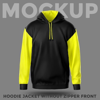 Front view hoodie jacket without pocket mockup