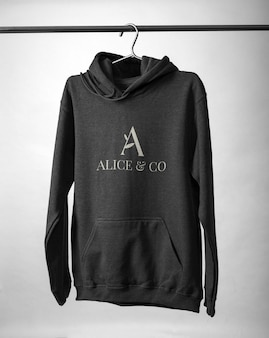 Front view of hoodie mockup design isolated