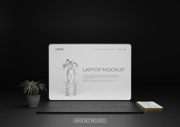 전면보기 노트북 화면 모형