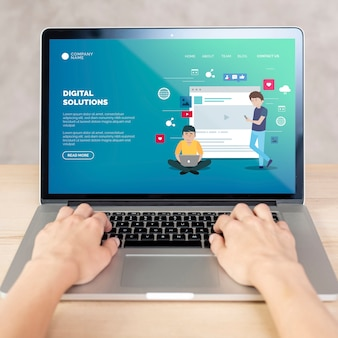 Front view laptop with landing page concept
