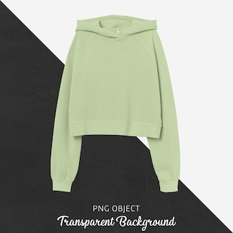 Front view of light green crop hoodie mockup