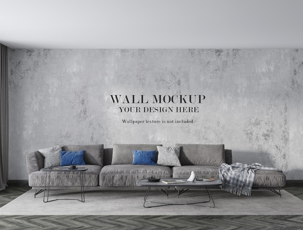Front view living room wall mockup with minimalist furniture