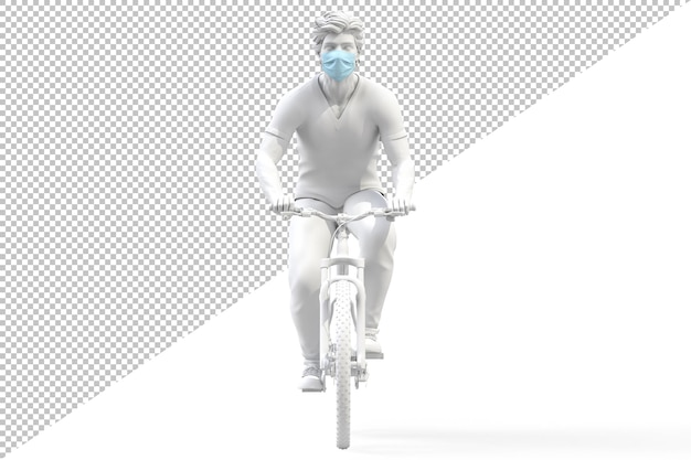 Front view of a man wearing medical protective face mask on a bicycle isolated