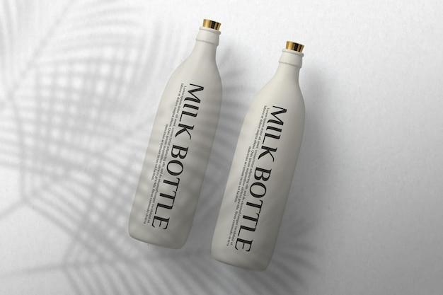 Front view milk bottle mockup