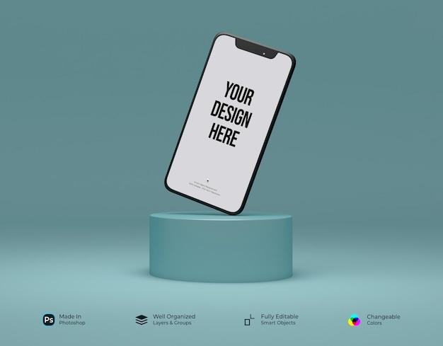 表彰台で浮上するインターフェイスモックアップを備えた正面図のミニマリズム3d電話