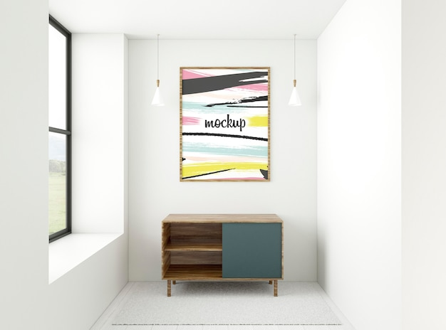 Front view minimalist home composition with frame mock-up