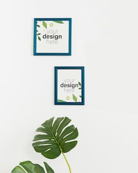 Front view mock-up frames on white wall