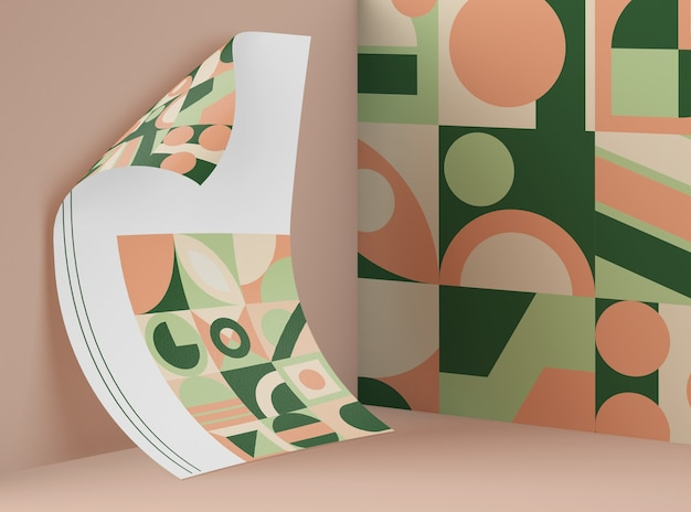 Front view of mock-up paper with multicolored geometric shapes