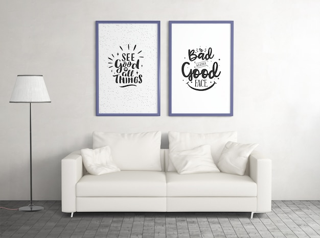 Front view mock up posters with sofa