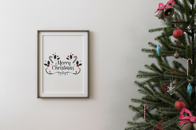 Front view of mockup poster frame and christmas tree