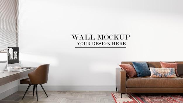 Вид спереди макет стены в 3d-рендеринге