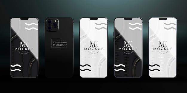 正面の新しい電話コレクションのモックアップ