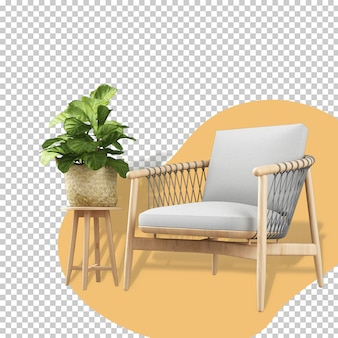 Кресло и растение, вид спереди в 3d-рендеринге