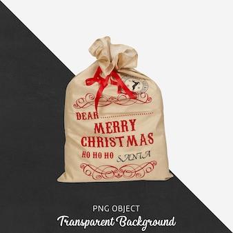 分離されたクリスマス袋の正面図