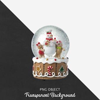 分離されたクリスマススノードームの正面図